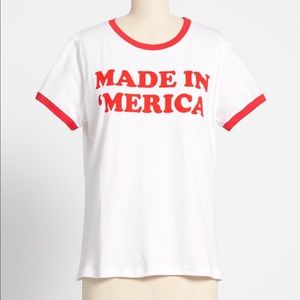 ModCloth NWT Made in 'Merica Ringer Graphic Tee L